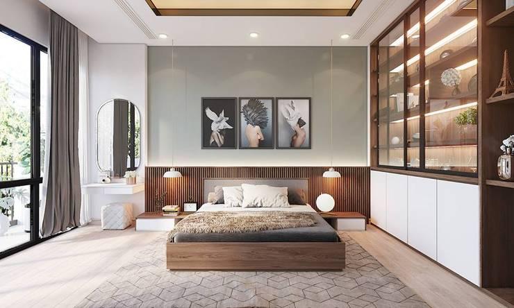 Nội thất phòng ngủ master khá rộng rãi và thoáng đãng:  Phòng ngủ by Công ty TNHH Nội Thất Mạnh Hệ