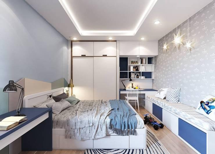 Nội thất phòng ngủ cho bé trai màu xanh:  Phòng ngủ nhỏ by Công ty TNHH Nội Thất Mạnh Hệ