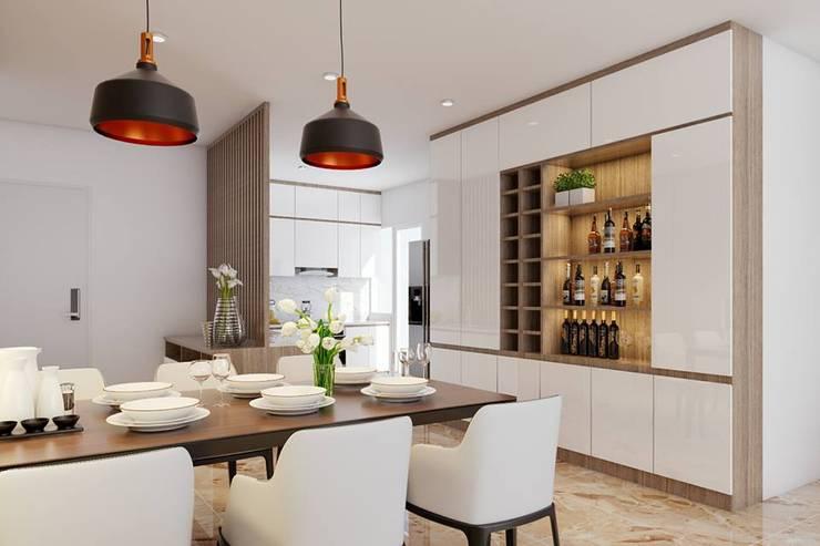 không gian phòng ăn rộng rãi và thông thoáng:  Phòng ăn by Công ty TNHH Nội Thất Mạnh Hệ