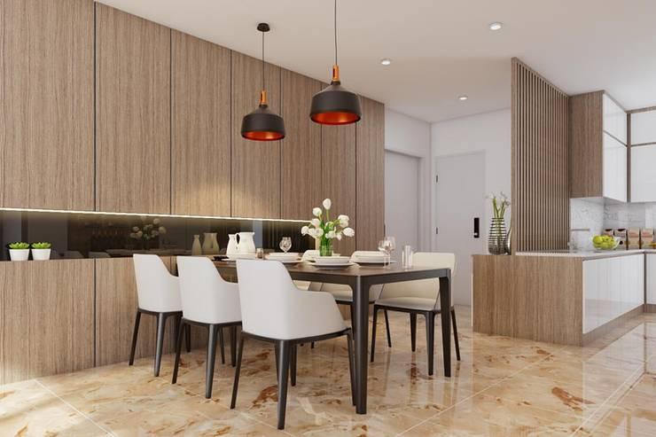 bộ bàn ăn được đặt ngay bên cạnh phòng khách:  Phòng ăn by Công ty TNHH Nội Thất Mạnh Hệ