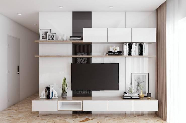 hệ thống tủ tivi màu trắng hiện đại:  Phòng khách by Công ty TNHH Nội Thất Mạnh Hệ