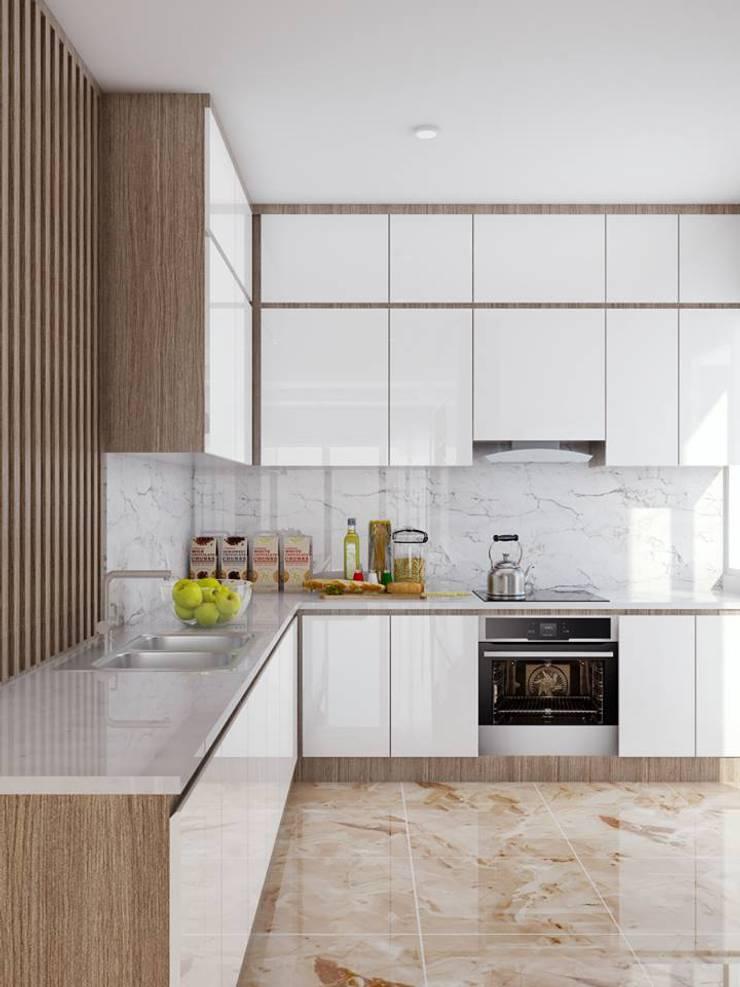 tủ tivi hình chữ L khá sang trọng và đẳng cấp:  Nhà bếp by Công ty TNHH Nội Thất Mạnh Hệ