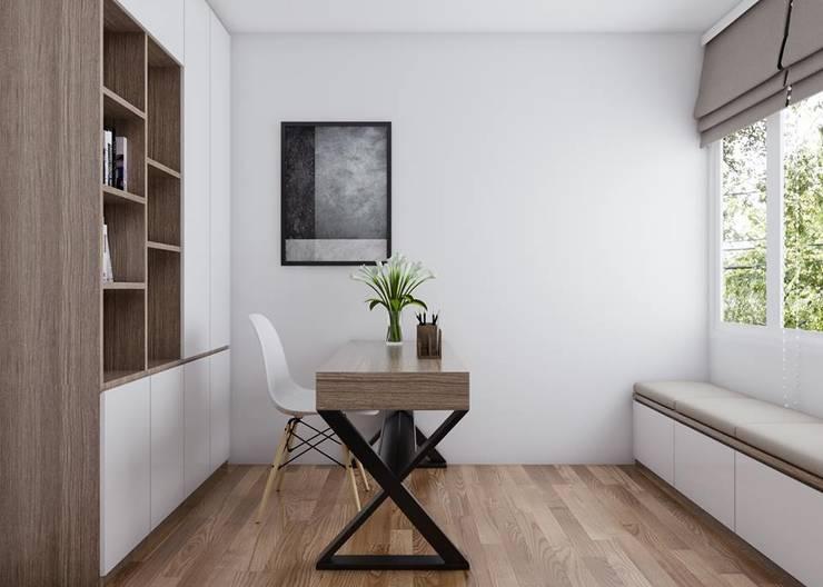 phòng làm việc được bố trí một chiếc bàn gỗ cùng kệ tủ âm tường chứa sách:  Phòng học/Văn phòng by Công ty TNHH Nội Thất Mạnh Hệ