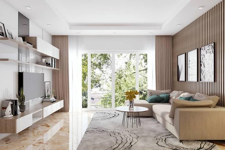 Không gian phòng khách khá rộng rãi và thoáng đãng:  Phòng khách by Công ty TNHH Nội Thất Mạnh Hệ