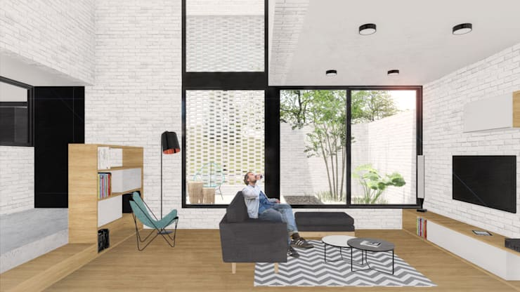 Living room by VP Arquitectura, Modern Bricks