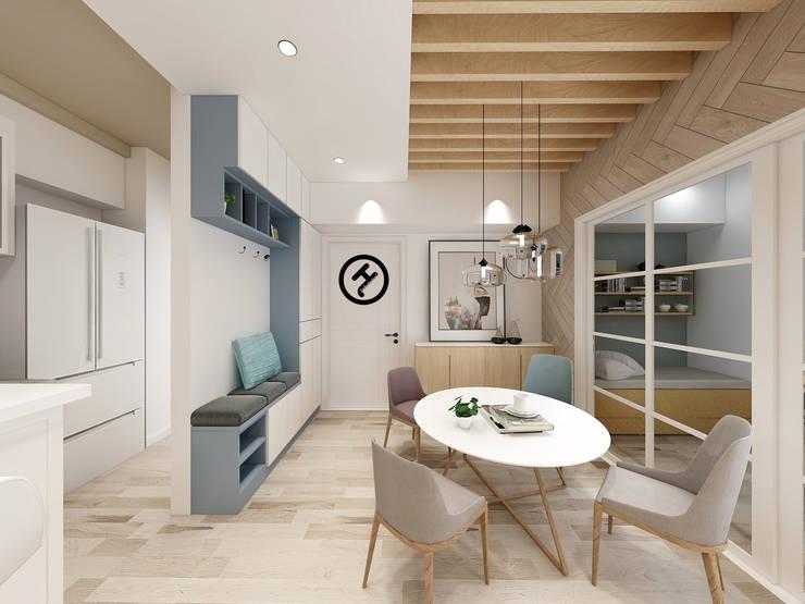 17坪北歐風兩房一廳-完成設計:  餐廳 by 知森數位開發有限公司