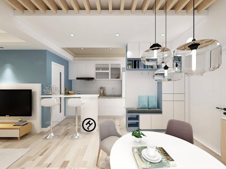 17坪北歐風兩房一廳-完成設計:  小廚房 by 知森數位開發有限公司