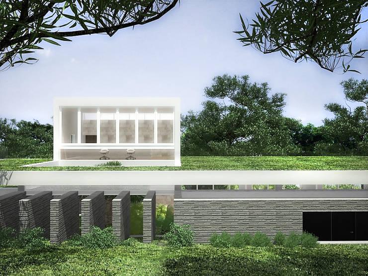 Sonoma: Jardines en la fachada de estilo  por RRA Arquitectura