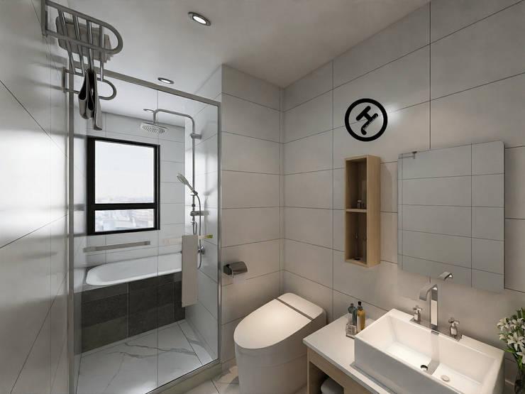 17坪北歐風兩房一廳-完成設計:  浴室 by 知森數位開發有限公司