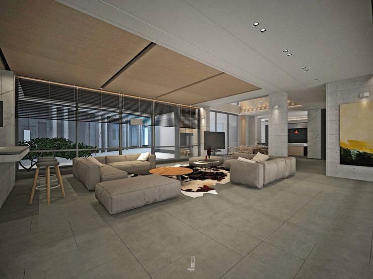 開放式的客廳:  客廳 by 竹村空間 Zhucun Design