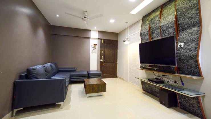 PROPOSED APARTMENT INTERIOR AT KONDHWA, PUNE. :  Living room by DESIGN EVOLUTION LAB,Modern