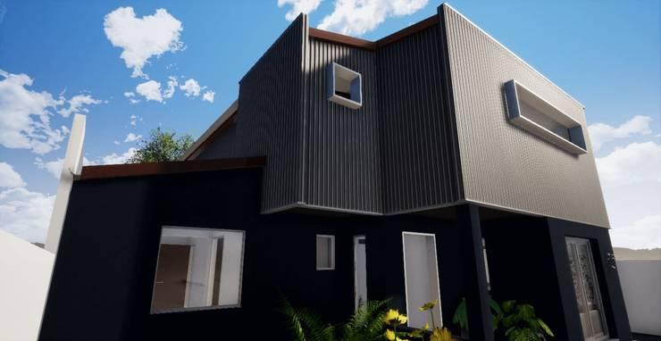 Vista desde antejardín a esquina nor-oriente _ render_3D: Casas unifamiliares de estilo  por BIM Urbano