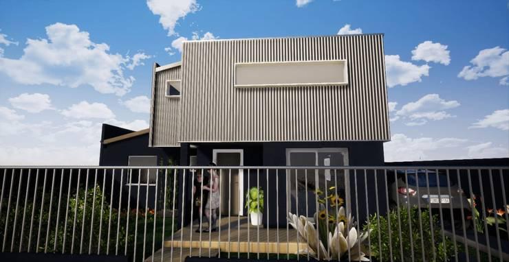 Fachada Principal_ render_3D: Casas unifamiliares de estilo  por BIM Urbano