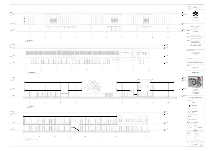 Cortes y fachadas del proyecto laboratorio Univalle: Paredes de estilo  por JV RVT