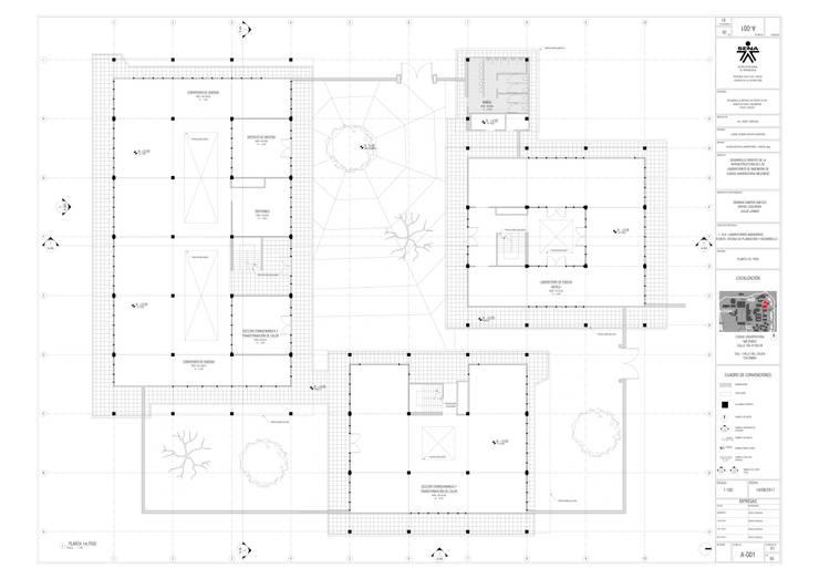 1er. piso del proyecto laboratorio Univalle: Escaleras de estilo  por JV RVT