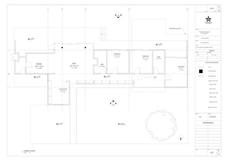 1er. piso del proyecto.: Casas multifamiliares de estilo  por JV RVT