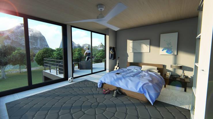 Render interior-1: Casas multifamiliares de estilo  por JV RVT