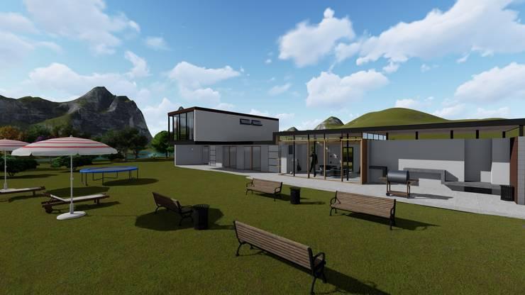 Render exterior-1: Casas multifamiliares de estilo  por JV RVT