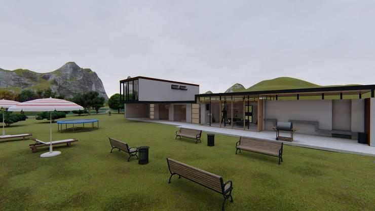Render exterior-2: Casas multifamiliares de estilo  por JV RVT