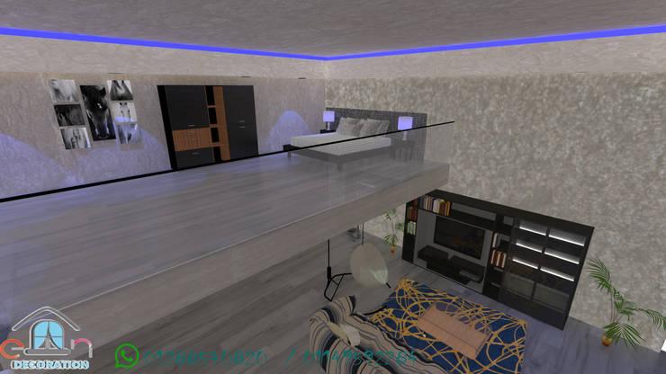 غرفه نوم في الطابق الثاني :  منازل صغيرة تنفيذ en decoration