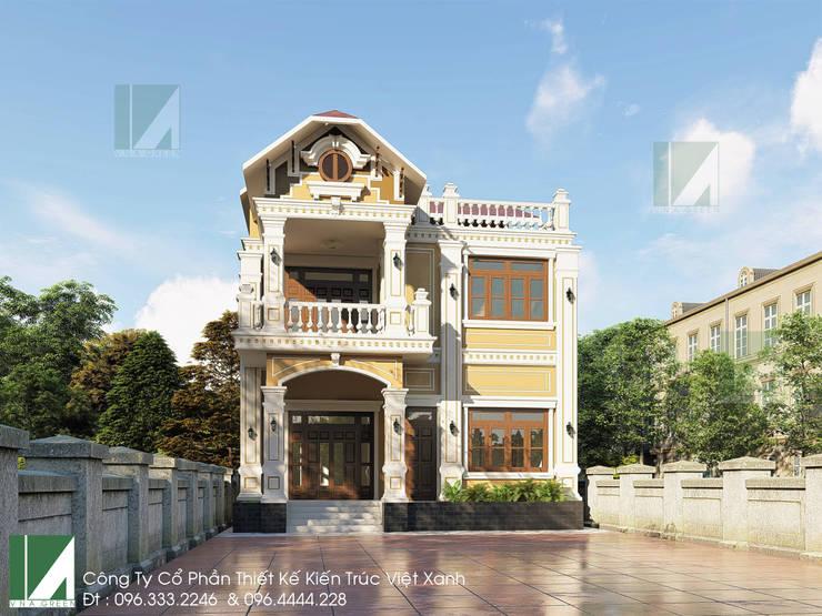 BIỆT THỰ 02 TẦNG CỔ ĐIỂN - BIỆT THỰ PHÁP 10X11M:   by công ty cổ phần Thiết kế Kiến trúc Việt Xanh