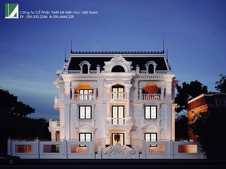 BIỆT THỰ LÂU ĐÀI 4 TẦNG + TẦNG ÁP MÁI :   by công ty cổ phần Thiết kế Kiến trúc Việt Xanh