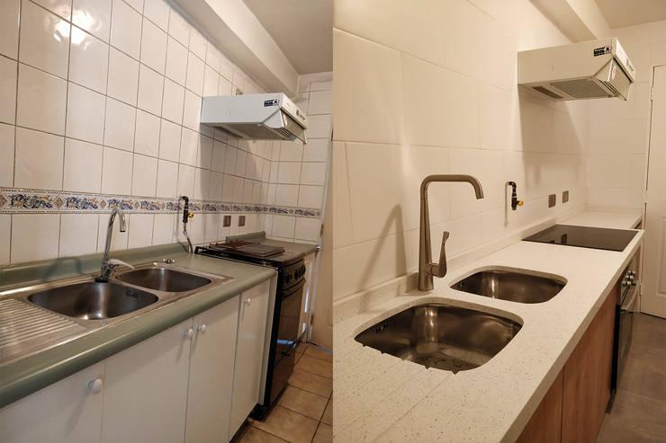 Cubierta de cuarzo blanco con lavaplatos empotrados:  de estilo  por Lares Arquitectura