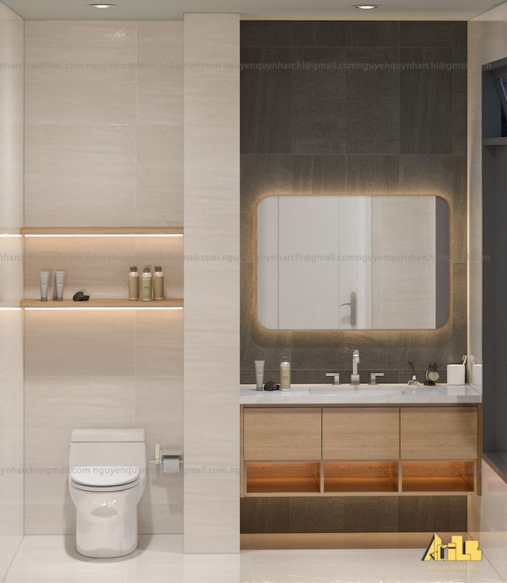 nội thất biệt thự phố Q2:  Phòng tắm by AcilB Design