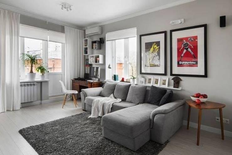تصميمات مودرن لغرفة المعيشة:  غرفة المعيشة تنفيذ pm architects