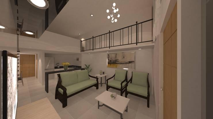 | PROYECTO LOFT | - Vista Sala - Cocina: Salas de entretenimiento de estilo  por Giovanna Solano - DLuxy Muebles Design