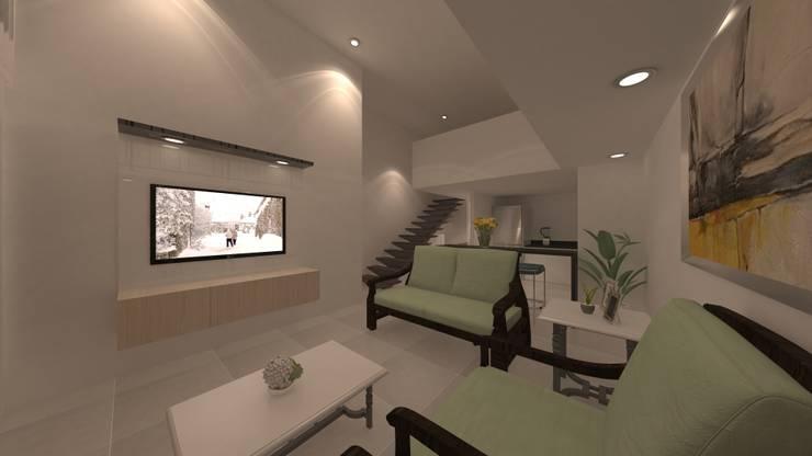 | PROYECTO LOFT | - Vista Sala - Escalera: Salas de entretenimiento de estilo  por Giovanna Solano - DLuxy Muebles Design