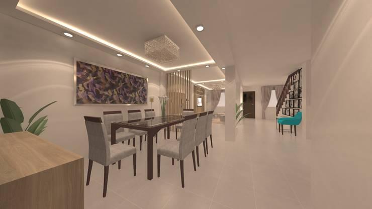 | PROYECTO SALA - COMEDOR | - Vista Comedor: Comedores de estilo  por Giovanna Solano - DLuxy Muebles Design