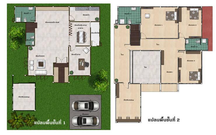 Floor Plan:  บ้านและที่อยู่อาศัย by บริษัท พี นัมเบอร์วัน ดีไซน์ แอนด์ คอนสตรัคชั่น จำกัด
