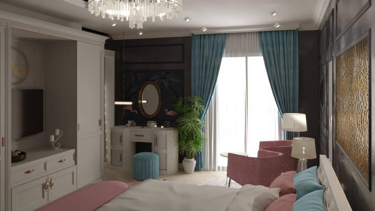 تصميم غرفة نوم رئيسية:  غرفة نوم تنفيذ AmiraNayelDesigns