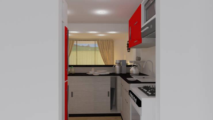 Render del espacio de la cocina: Cocina de estilo  por JV RVT