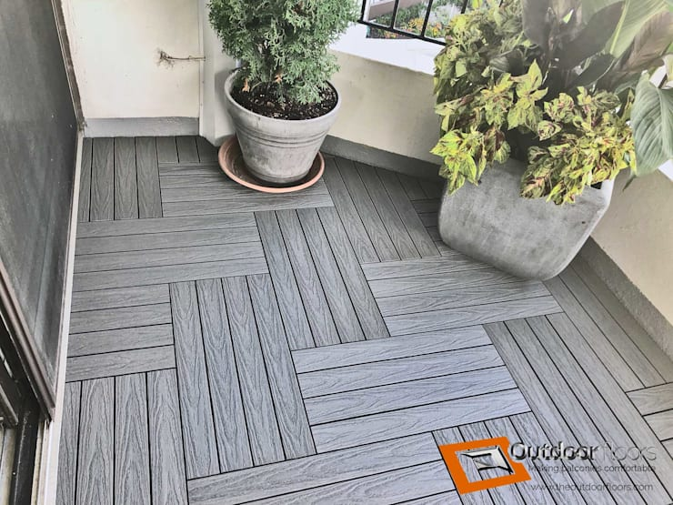 """<q class=""""-first"""">Silver</q> Grey 2x1' Balcony Flooring Tiles in Mississauga:  Balcony by Outdoor Floors Toronto"""