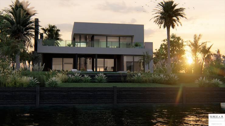 PROYECTO EN LA VIRAZON - NORDELTA: Casas unifamiliares de estilo  por Rocha & Figueroa Bunge arquitectos