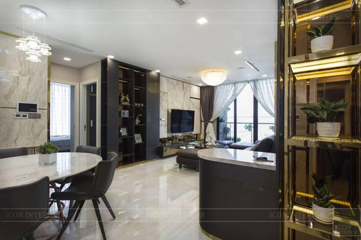 THỰC TẾ CĂN HỘ VINHOMES GOLDEN RIVER - 3-Bedroom Apartment :  Phòng khách by ICON INTERIOR