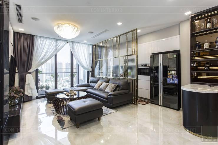 THỰC TẾ CĂN HỘ VINHOMES GOLDEN RIVER – 3-Bedroom Apartment :  Phòng khách by ICON INTERIOR