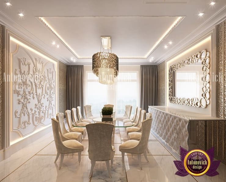 """White and Gold Dining Room Interior Design: {:asian=>""""asian"""", :classic=>""""classic"""", :colonial=>""""colonial"""", :country=>""""country"""", :eclectic=>""""eclectic"""", :industrial=>""""industrial"""", :mediterranean=>""""mediterranean"""", :minimalist=>""""minimalist"""", :modern=>""""modern"""", :rustic=>""""rustic"""", :scandinavian=>""""scandinavian"""", :tropical=>""""tropical""""}  by Luxury Antonovich Design,"""