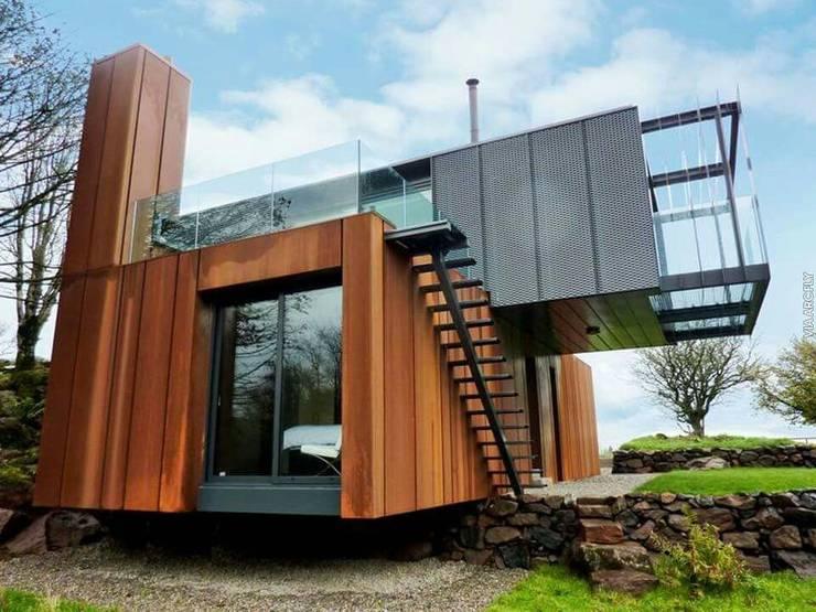 레디메이드 철강과 우드마감: 스마트주방의  주택,