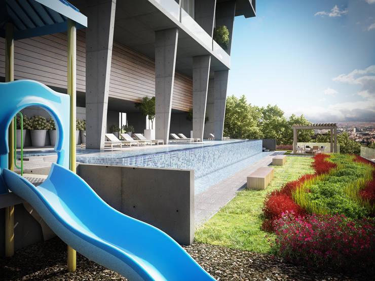 POSTAL, Querétaro, MX: Albercas de estilo  por VillaSi Construcciones