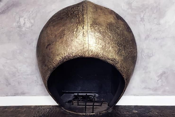 Custom Sculptural Fireplace Living Room - 86th Street New York:  Living room by Joe Ginsberg Design