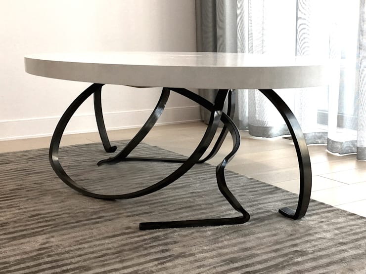 Custom Sculptural Dining Table - Living Room - 86th Street New York:  Dining room by Joe Ginsberg Design