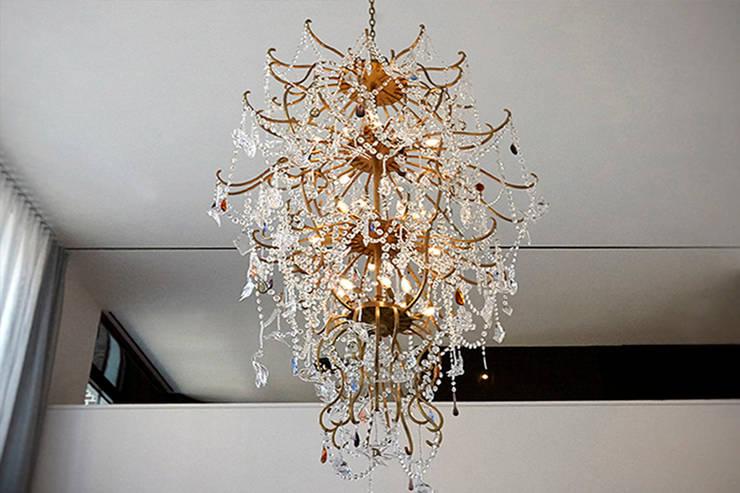 Custom Chandelier - Living Room - 86th Street New York:  Living room by Joe Ginsberg Design