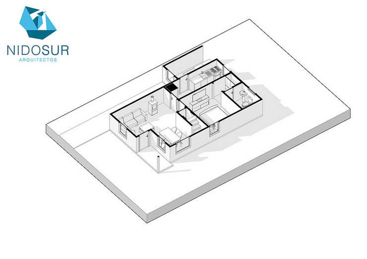 Diseño de Casa MR1 en Loncoche por NidoSur Arquitectos:  de estilo  por NidoSur Arquitectos