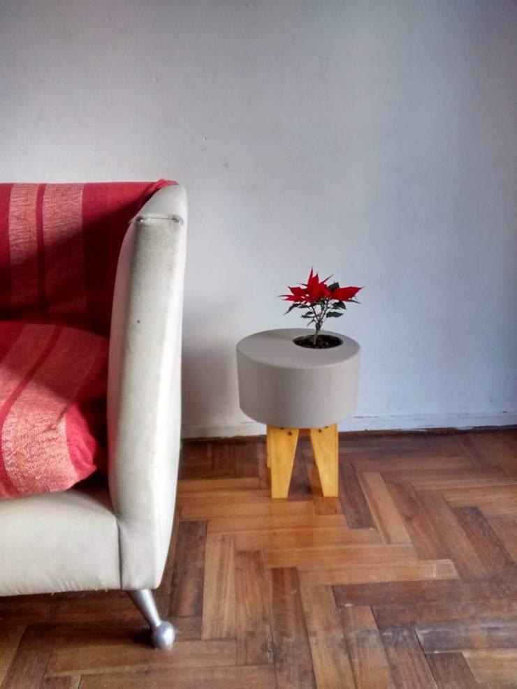 Maceta de cemento pintada color gris sobre catre de madera: Jardines de estilo  por Taller de Diseño Cementicio,