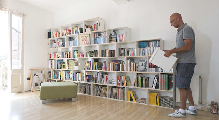 Grandes librerías: Salones de estilo  de BrickBox - Portable Shelving Modular System