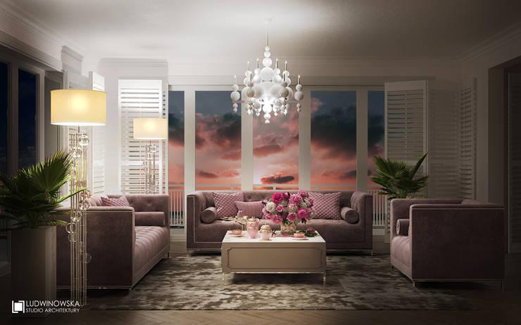 MARINA ROYALE: styl , w kategorii Salon zaprojektowany przez Ludwinowska Studio Architektury