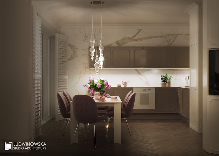 MARINA ROYALE: styl , w kategorii Kuchnia zaprojektowany przez Ludwinowska Studio Architektury